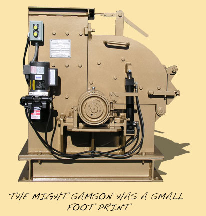 The Mighty Samson Hammer Mill has a small footprint.